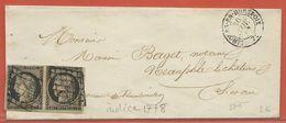 FRANCE LETTRE DE 1849 DE LIMOURS EN HUREPOIX POUR NEAUPHLE LE CHATEAU - 1849-1850 Ceres