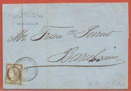 FRANCE LETTRE OBLITERATION ESPAGNOLE DE 1876 DE MARSEILLE POUR BARCELONE - 1871-1875 Ceres