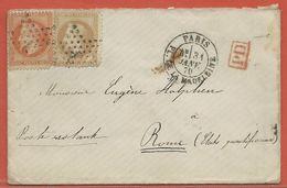 FRANCE LETTRE DE 1870 DE PARIS POUR ROME ITALIE - 1863-1870 Napoléon III Con Laureles