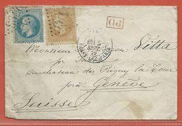 FRANCE LETTRE DE 1870 DE PARIS POUR GENEVE SUISSE - 1863-1870 Napoléon III Con Laureles