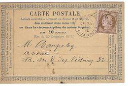 FRANCE 1872: CP De Paris Intra Muros Avec Le Y&T58, TB Obl. Etoile ''22'' (R. Taitbout)  B à TB - 1871-1875 Ceres