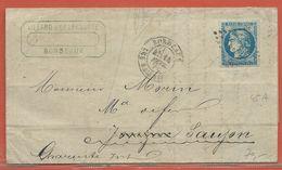 FRANCE N°45A SUR LETTRE DE 1871 DE BORDEAUX POUR SAUJON - 1870 Emisión De Bordeaux