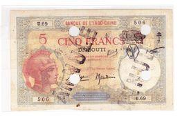 INDOCHINE 5 FRANCS DJIBOUTI JANVIER 1943 ANNULE OCCASION - Indochine