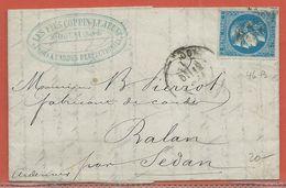 FRANCE N°46B SUR LETTRE DE 1871 DE DOUAI POUR RALAN - 1870 Emisión De Bordeaux