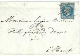 FRANCE 1868: LSC De Paris Pour Elbeuf Avec Le Y&T29A, TB Obl. Etoile ''23'' (Bd. Du Fg. St-Antoine)  B à TB - 1863-1870 Napoleon III With Laurels