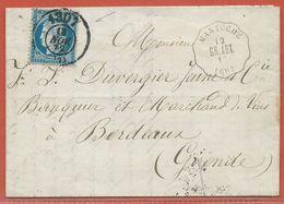 FRANCE AMBULANT LETTRE DE 1872 DE MANTOCHE POUR BORDEAUX - 1871-1875 Cérès