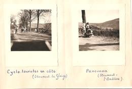2x Foto Photo (7x8cm) Stoumont La Gleize Panorama L'Amblève Cyclo-touristes En Côte 1950 - Stoumont