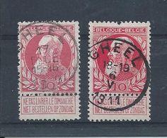 OCB 74 - Afstempeling  GHEEL 2 Types - COBA 8 - 1905 Breiter Bart