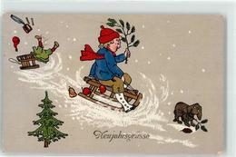 52828800 - Kind Schlitten Hund Humor - Nieuwjaar