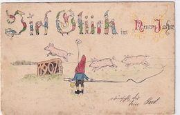 1907 - Original Handgemalte Glückwunschkarte - Zwerg Mit Schweinchen - 1905       (200606) - New Year