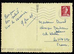 ANDORRA ANDORRE Curiosité Sur CP Andorre Marianne De Muller 15F Oblitérée ANDORRE LA VIEILLE SECAP 25-8-1957 TTB  2 Scan - Französisch Andorra