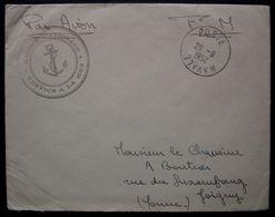 L'Intrépide (P.C), Poste Navale 1952 Lettre En Franchise, Pour Joigny, Avec Correspondance - Marcophilie (Lettres)