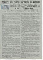 25. SOCIETE MOTRICES DU REFRAIN  POLICE D' ASSURANCE - Documents Historiques