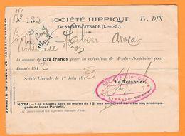 LOT ET GARONNE - SAINTE LIVRADE - SOCIETE' HIPPIQUE - Vecchi Documenti