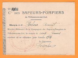 LOT ET GARONNE - VILLENEUVE SUR LOT - COMPAGNIE DES SAPEURS POMPIERS - Vecchi Documenti