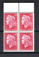 FRANCE  N° 1536Bb  BLOC DE QUATRE   NEUF SANS CHARNIERE  COTE 12.00€   MARIANNE DE CHEFFER DEUX BANDES DE PHOSPHORES - 1967-70 Maríanne De Cheffer