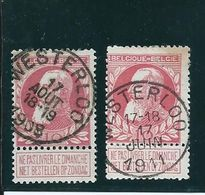 OCB 74 - Afstempeling WESTERLOO 2 Types - COBA 8 - 1905 Breiter Bart