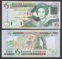 CARAIBI ORIENTALE (EASTERN CARIBBEAN) : 5 Dollars - P42g - GRENADA - Queen Elisabeth II - 2003 - UNC - Oostelijke Caraïben