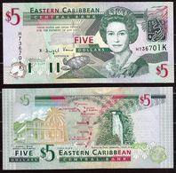 CARAIBI ORIENTALE (EASTERN CARIBBEAN) : 5 Dollars - P42k -  St. KITTS - Queen Elisabeth II - 2003 - UNC - Oostelijke Caraïben