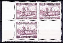 Boheme Et Moravie 1940 Mi 58 (Yv 57), (MNH)** Bloc De 4 - Croix (Kreuz), - Ungebraucht
