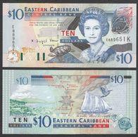 CARAIBI ORIENTALE (EASTERN CARIBBEAN) : 10 Dollars - P43k - St. KITTS - Queen Elisabeth II - 2003 - UNC - Oostelijke Caraïben