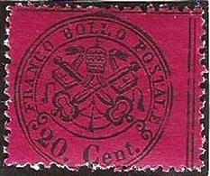 Stato Pontificio 1868: 20. Cent. Michel-No. 23 Ay  (lilarosso - Non-brillante ) * Con  Linguella  (catalogo 3.50 Euro) - Etats Pontificaux