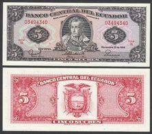 ECUADOR  : 5 Sucres - P113d  - 1988 - UNC - Ecuador