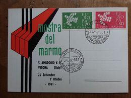 REPUBBLICA - Marcofilia - Mostra Del Marmo 1961 + Spese Postali - F.D.C.