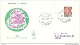 ITALIA - 1966 SIRACUSANA £.130 Su FDC Venetia Viaggiata - F.D.C.