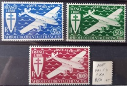 A.O.F. / YT PA 1 - 3  / AVION - AVIATION - LIBERATION / NEUFS ** / MNH - Unused Stamps