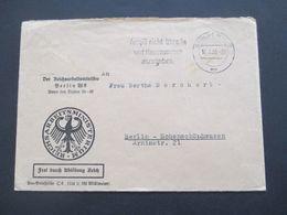 3.Reich 1935 Frei Durch Ablösung Reich Umschlag Der Reichsarbeitsminister Berlin W8 Nach Bln Hohenschönhausen - Covers & Documents