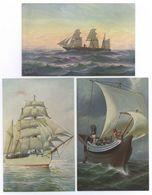 3x Chr. Rave Gauss Romeinsch Zeilschip Borussia Hamburg Amerika Lijn Briefkaart - Zeilboten