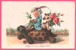 Fantaisie - Bonne Année - Fillette à Dos De Tortue - Rose - Chiot - Animée - Turtles