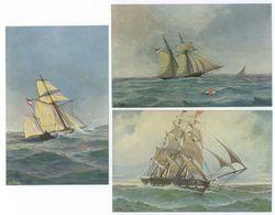 3x Chr. Rave Duitsche Sloep + Duitsche Schoener + Korvet Schiff Briefkaart - Zeilboten