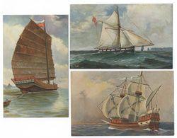 3x Chr. Rave Chineesch Theeschip Engelsche Oorlogskotter Oorlogsschip Briefkaart - Zeilboten