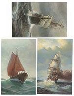 3x Chr. Rave Duitsche Bark Coquette Omstreeks 1870 + Pantserfregat König Wilhelm - Zeilboten