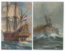 2x Chr. Rave Duitsche Kruiser Deutschland Bij Zwaar Weer 1874 + Vlaggeschip Adm. - Zeilboten
