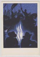 Am Lagerfeuer - Künstlerische Pfadfinderkarte         (A-226-200212) - Scoutismo