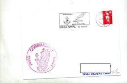 Lettre Flamme Brest Naval Service Postale + Navire Aviso Birot - Marcophilie (Lettres)
