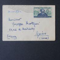 Repubblica, 60 Lire Verdi Isolato Su Bustina Per La Svizzera Del 1951    -A31 - 1946-.. République