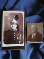 Photo CDV Berthaud à Evreux - Militaire Cavalier Du 21e Dragon, Joint Petite Photo Du Même Homme En 1925 Circa 1885 L508 - Ancianas (antes De 1900)