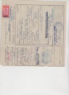 DOCUMENTO  BIGLIETTO  D'USCITA DALL'OSPEDALE  MILITARE CON MARCA 1943 CENSURATA. - Fiscali