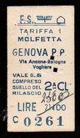 Biglietto Ordinario Molfetta -Genova P.P. - Treni
