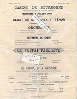 52 - Casino De BOURBONNE  - Programme Du Mercredi 4 Juillet 1883 - Programs