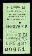 Biglietto Ordinario Milano Linate -Genova P.P. - Treni