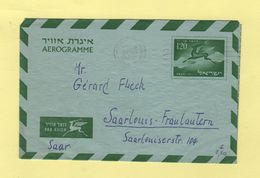 Israel - Aerogramme - 1956 - Destination Saarlouis - Saar - Covers & Documents