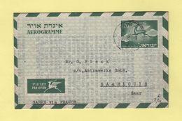 Israel - Aerogramme - Destination Saarlouis - Saar - Covers & Documents