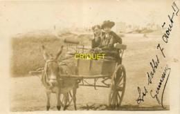 85 Les Sables D'Olonne, Carte Photo D'un Couple Dans Une Charrette à âne Au Bout Du Remblai, Août 1919 - Sables D'Olonne