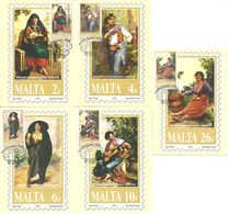 Malta 2001 Maximum Cards, Paintings   Edward Caruana Dingli (1876-1950), Mi 1162-1166, Cancelled - Malta