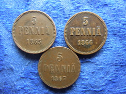 FINLAND 5 PENNIA 1865 Cleaned, 1866, 1867 Scratched, KM4.1 - Finland